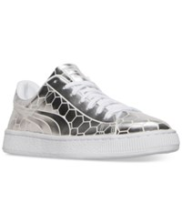 Puma Men's Basket Classic Metallic Casual Sneakers From Finish Line Silver