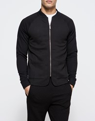 Native Youth 3D Textured Loopback Bomber Black