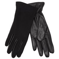 John Lewis Leather Jersey Touch Gloves Black