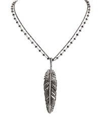 Michael Aram Rhodium Plated Silver Feather Pendant Necklace With Diamonds