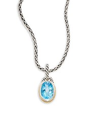 Effy Blue Topaz Sterling Silver And 18K Yellow Gold Oval Pendant Necklace