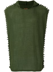 Caravana Hooded Sheer Vest Cotton Green