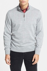 John W. Nordstrom John W. R Regular Fit Quarter Zip Merino Wool Pullover Gray