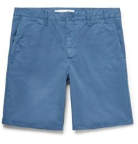Norse Projects Aros Slim Fit Garment Dyed Cotton Twill Shorts Blue