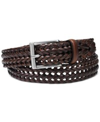 Fossil Myles Braid Leather Belt Cognac