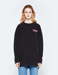 Off White Business Neon Over Crewneck In Black Fuchsia