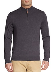 Saks Fifth Avenue Black Quarter Zip Wool Sweater Charcoal