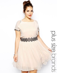 Little Mistress Plus Little Mistress Short Sleeve Skater Dress With Embroidery Nudepink