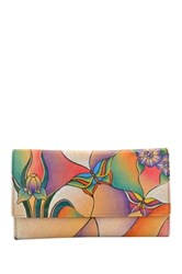 Anna By Anuschka Hand Painted Leather Checkbook Wallet Clutch Multi
