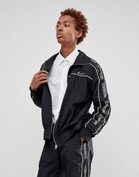 Mennace Track Jacket In Black Shell Suit With Signature Side Stripe