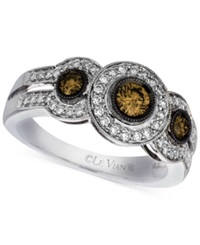 Le Vian Chocolate And White Diamond Three Stone Ring 3 4 Ct. T.W. In 14K White Gold