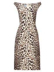 Prada Leopard Print Off The Shoulder Wool Dress Leopard