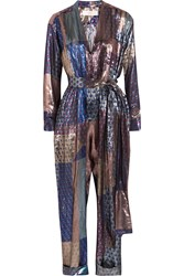 Victoria Beckham Metallic Printed Silk Blend Jumpsuit Blue