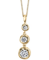 Sirena Diamond Three Stone Pendant Necklace 1 3 Ct. T.W. In 14K Yellow Gold Or White Gold