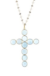 Gold Vermeil Chalcedony Cross Pendant Necklace Blue