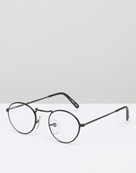 Reclaimed Vintage Round Glasses With Clear Lens Black