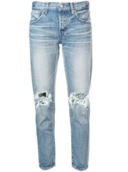 Moussy Vintage Ripped Knee Jeans Blue