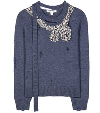Marc Jacobs Embellished Wool And Cashmere Sweater Blue