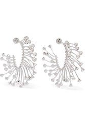Thierry Mugler Silver Tone Crystal Earrings One Size