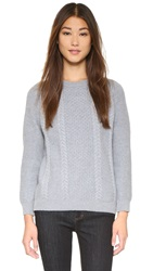 Chinti And Parker Heart Patch Aran Sweater Grey Marl Acid Pink