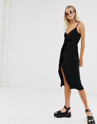 Bershka Cami Dress With Knot Front In Black