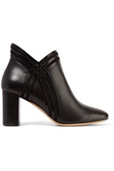 Salvatore Ferragamo Larose Suede And Glossed Leather Trimmed Leather Ankle Boots Black