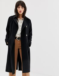 Mango Trench Coat With Horn Effect Buttons In Black