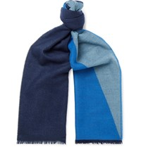 Johnstons Of Elgin Fringed Colour Block Cashmere Scarf Blue