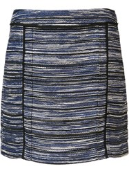 Jason Wu Melange Stripe Mini Skirt Blue