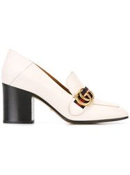 Gucci Gg Web Mid Heel Loafer Pumps White