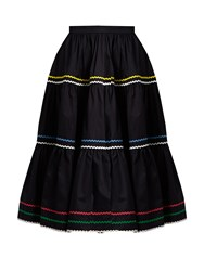 Anna October Ric Rac Trimmed Cotton Skirt Black Multi