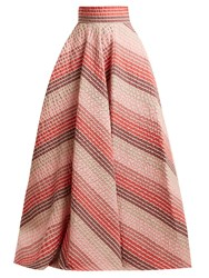 Luisa Beccaria Striped Jacquard Panelled Skirt Pink Stripe