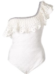 Missoni Ruffled One Shoulder Swimsuit White