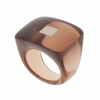 Andre Benitah Creations Paris Square Resin And Diamond Ring Smoked