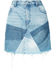 Prps Patchwork Denim Skirt Women Cotton 26 Blue