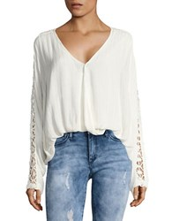 Free People Runaway Crochet Accented Top Ivory