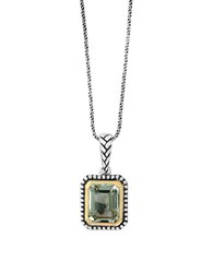 Effy 925 Green Amethyst Sterling Silver And 18K Yellow Gold Necklace