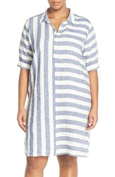 Plus Size Women's Caslon Print Linen Tunic Dress