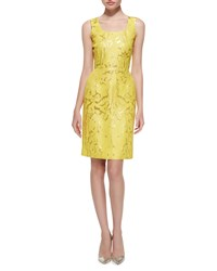Oscar De La Renta Sleeveless Marble Print Sheath Dress Women's Lemon