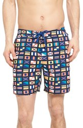 Original Penguin Men's Nautical Flag Swim Trunks