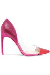 Sophia Webster Daria Glittered Leather And Vinyl Pumps Pink
