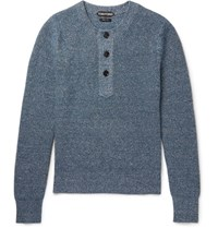 Tom Ford Melange Cashmere And Linen Blend Henley Sweater Storm Blue