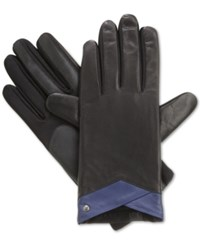 Isotoner Signature Stretch Leather Tech Touch Gloves Black Royal
