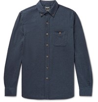Todd Snyder Button Down Collar Cotton And Wool Blend Flannel Shirt Blue