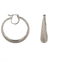 Latelita London Sterling Silver Sparkling Hoop Earring White Cz