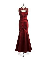 Xscape Evenings Ruched Taffeta And Lace Mermaid Gown Red
