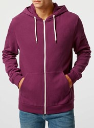 Topman Purple Zip Through Hoodie
