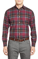 Brooks Brothers Trim Fit Long Sleeve Plaid Twill Sport Shirt Chocolate Truffle Plaid