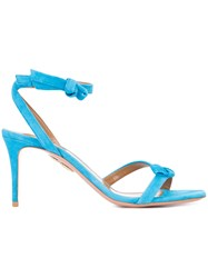 Aquazzura Bow Heeled Sandals Women Leather Suede 39 Blue