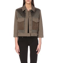 Allsaints Lisson Quilted Twill Jacket Khaki Green